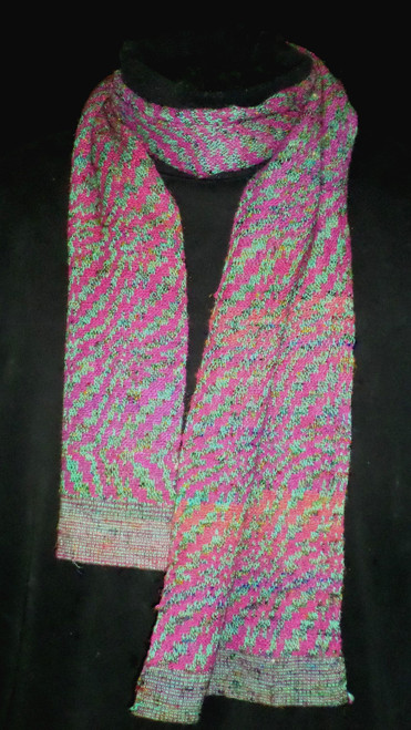 Double weave scarf in handspun sari silk