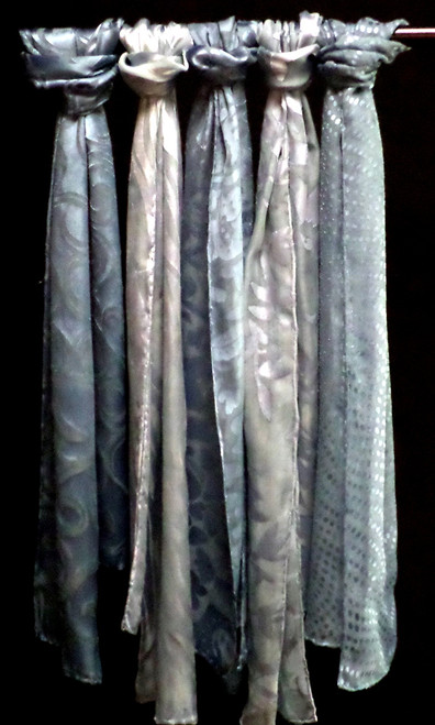 Indigo blue silk devore scarves
