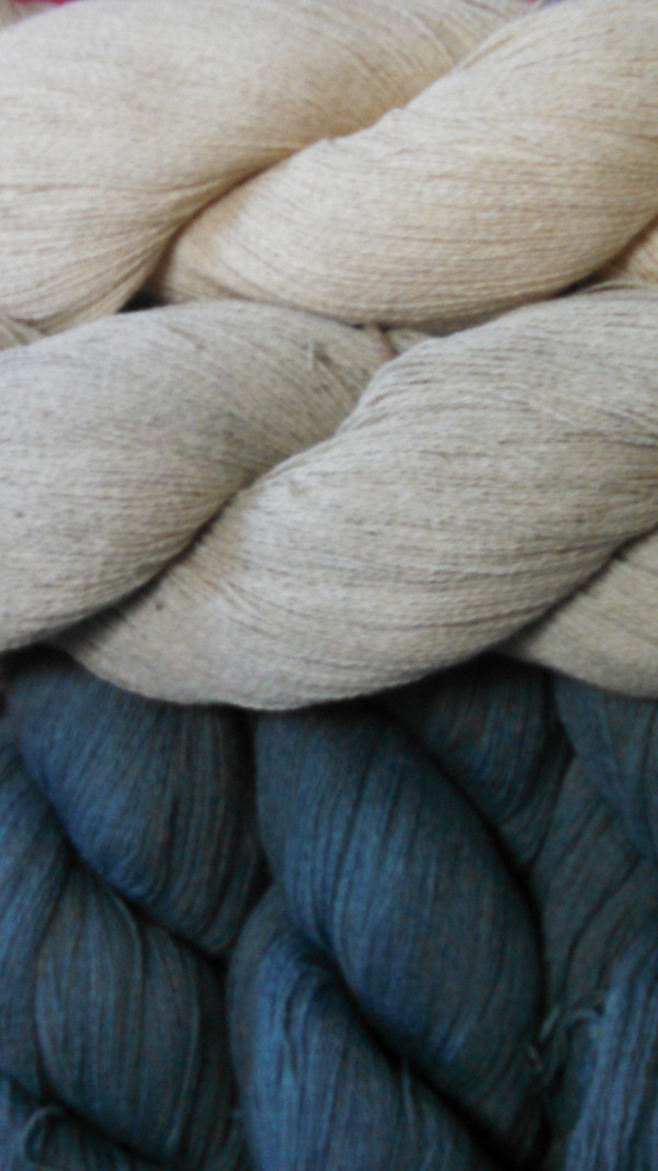 from the top: unwashed, scoured, 1 dip indigo