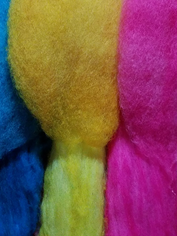 Dyed Superwash wool and Dye-Lishus cotton, heated