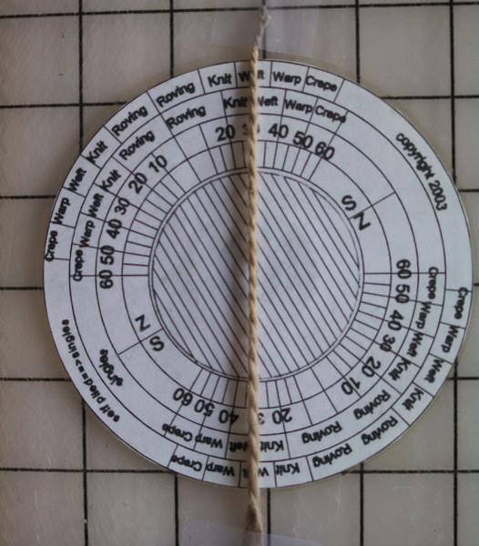 angle gauge with yarn