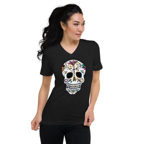 Sugar Skull Unisex Short Sleeve V-Neck T-Shirt
