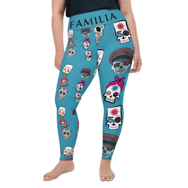Misfit Familia Sugar Skulls All-Over Print Plus Size Leggings