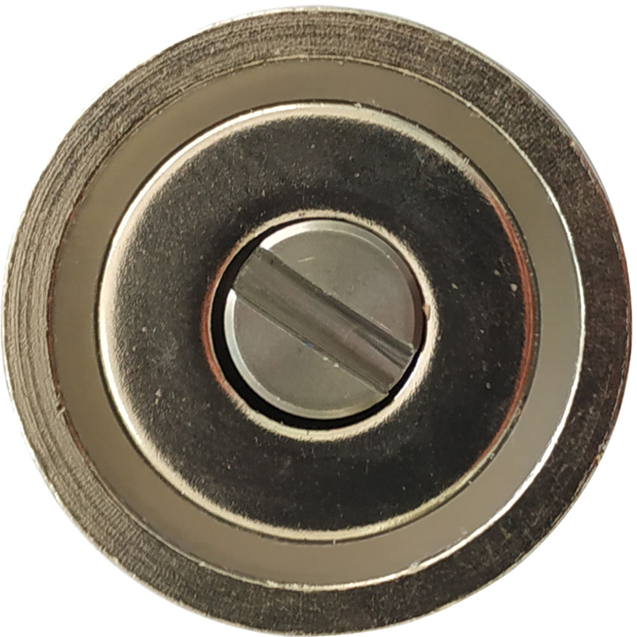 Front side the 25 mm magnet. The mounting captive screw slot is wide to be used with a small coin like the US penny which is non magnetic.
