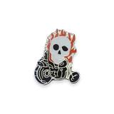 Vintage Motorcycle Skull Flames Pin