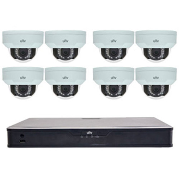 UNV 8 Channel NVR Kit with 2TB HDD and 8 4MP Vandal Resistant Domes