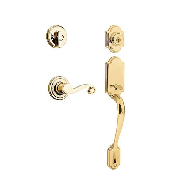 Kwikset Arlington Handleset and Trim Kit - Polished Brass/ Lido Inside Lever/ Left Handed