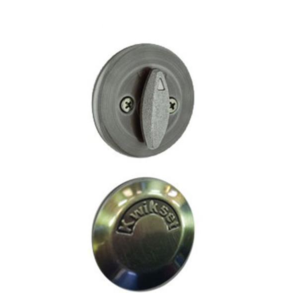 Kwikset Single Deadbolt & Plate - Antique Nickel
