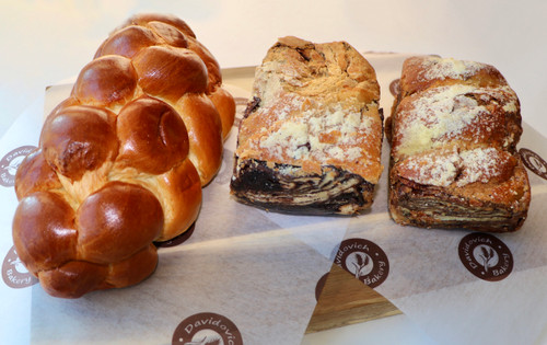Kosher Parve Pack: Challah Bread, Chocolate and Cinnamon Babka
