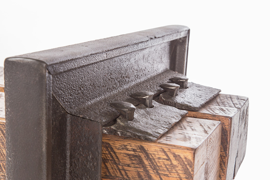 weathered steel bench reclaimed industrial railroad age materials and timbers