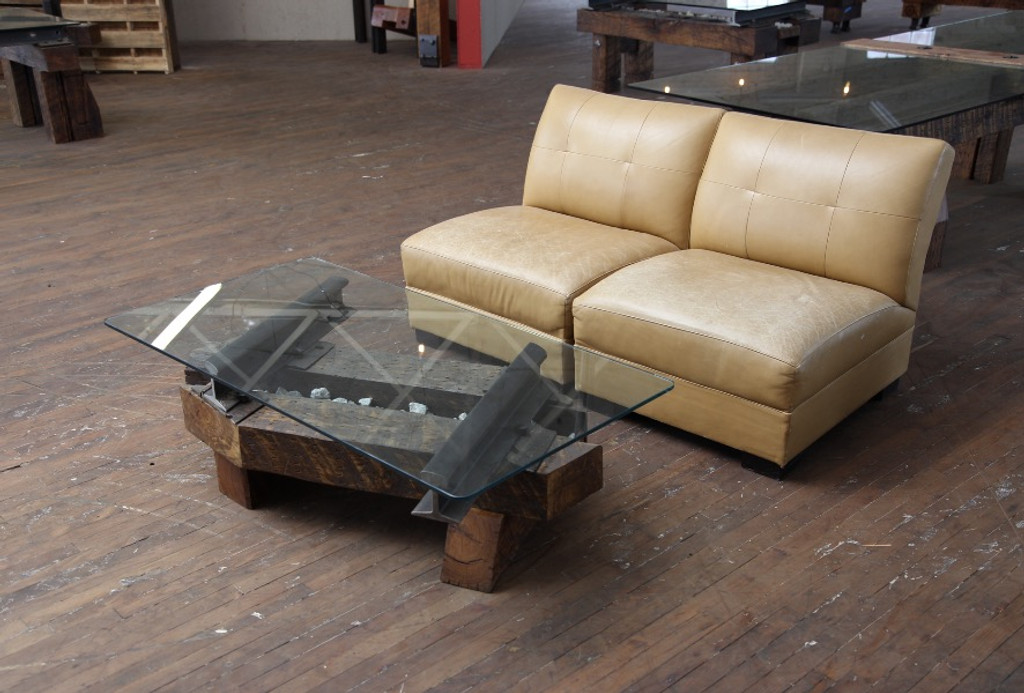 funky coffee table angled cut wood timbers steel american made