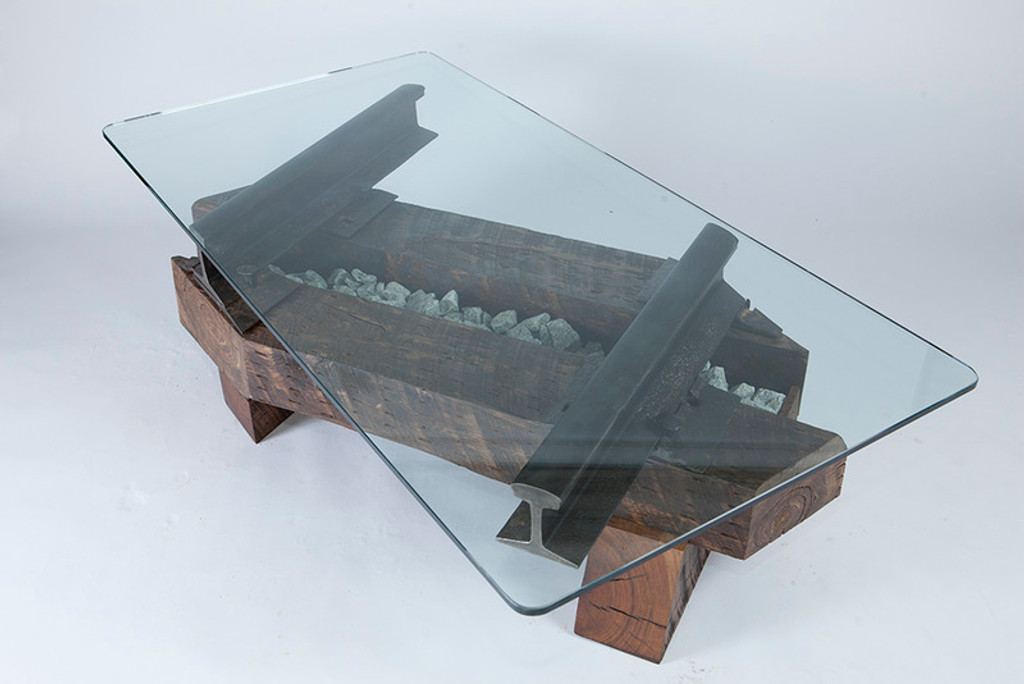 angled coffee table reclaimed wood beams steel i-beams made in usa