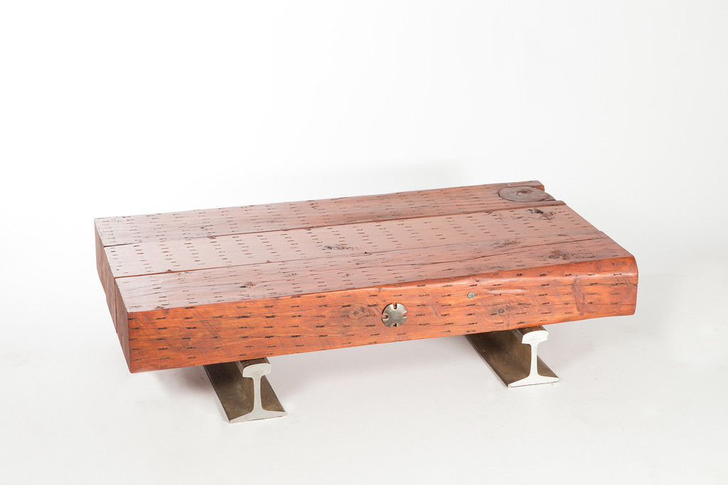 simple modern design solid wood timber low-profile coffee table with metal accents