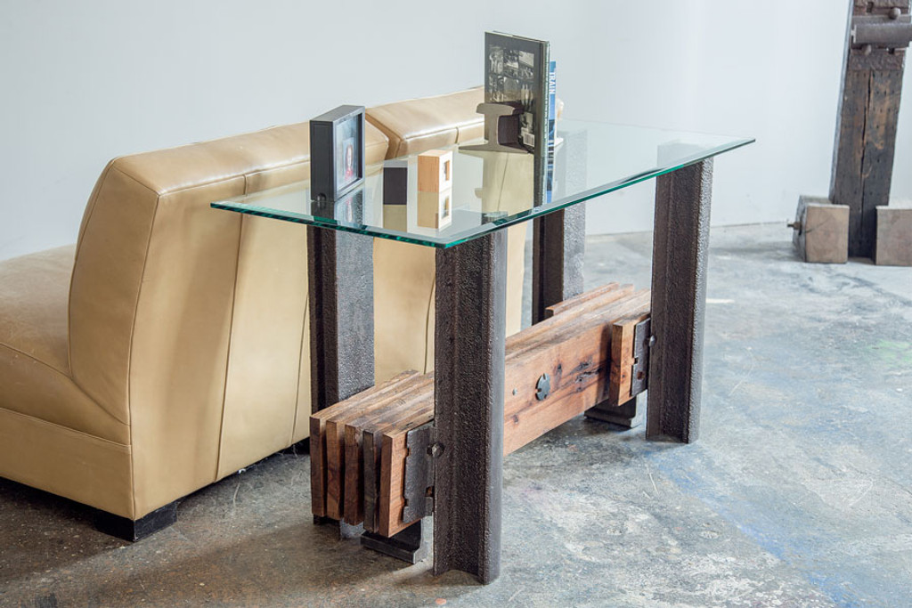 historic industrial style steel timber table for commercial residential or hospitality