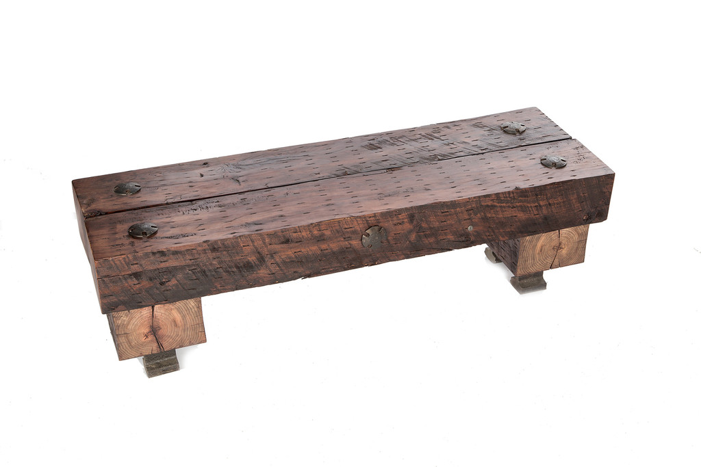 massive wood beam timber seated bench