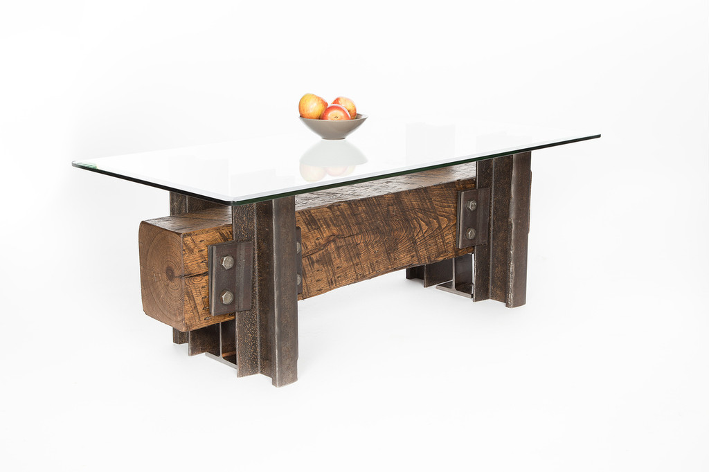 narrow coffee table industrial wood beam with steel accents