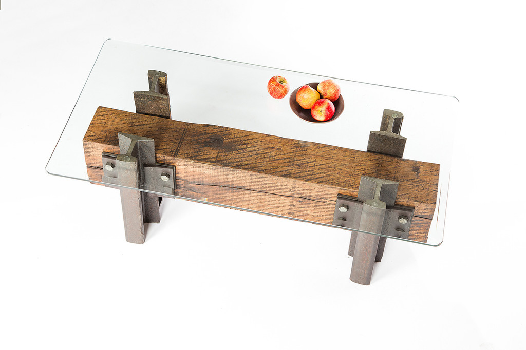boutique hotel coffee table with simple lines from reclaimed wood steel
