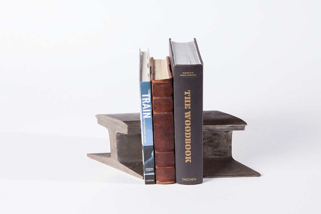 classic reclaimed industrial iron book ends
