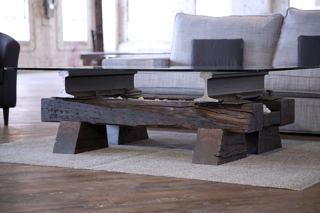statement piece coffee table timber steel