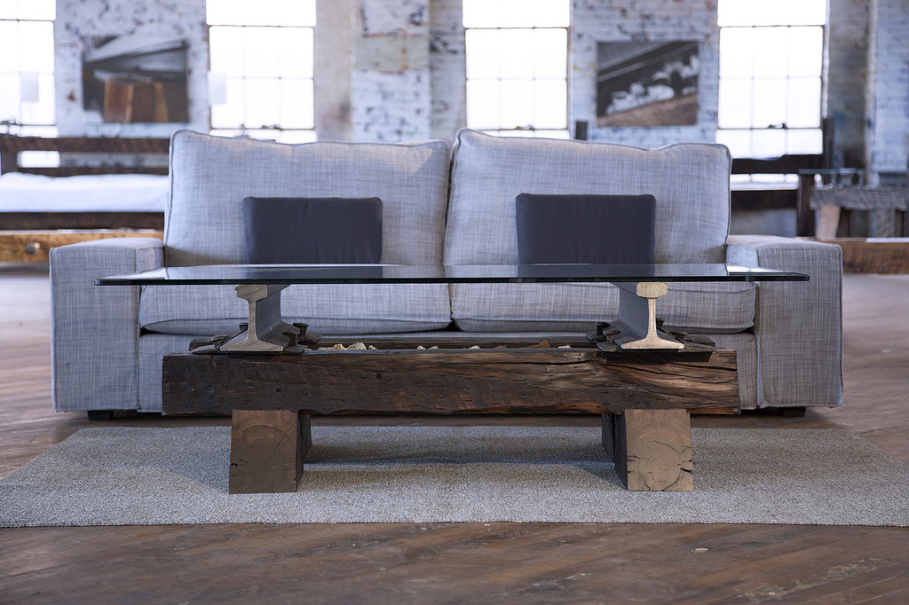 conversation piece coffee table authentic reclaimed metal and distressed hardwood timber