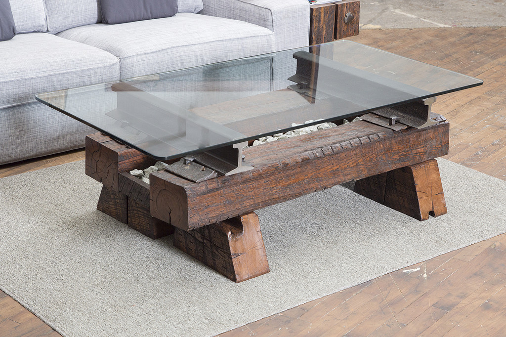 focal point coffee table reclaimed 1800s 1900s steel hardware timber wood for luxury mountain living