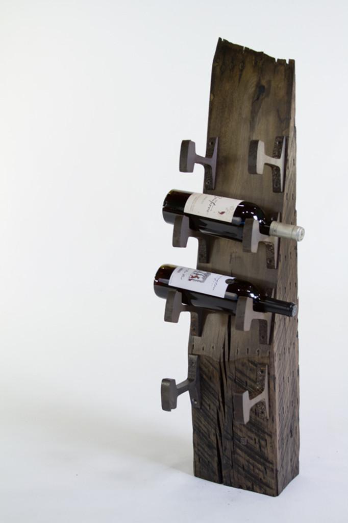 4-bottle wine rack from reclaimed vintage steel and wood
