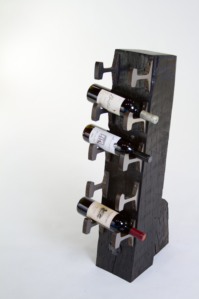 luxury mountain living style wine rack for winery or home from sustainably sourced wood and steel