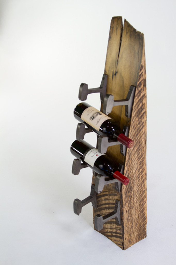 luxury repurposed wood timber wine bottle holder from rough hewn chunky salvaged timber