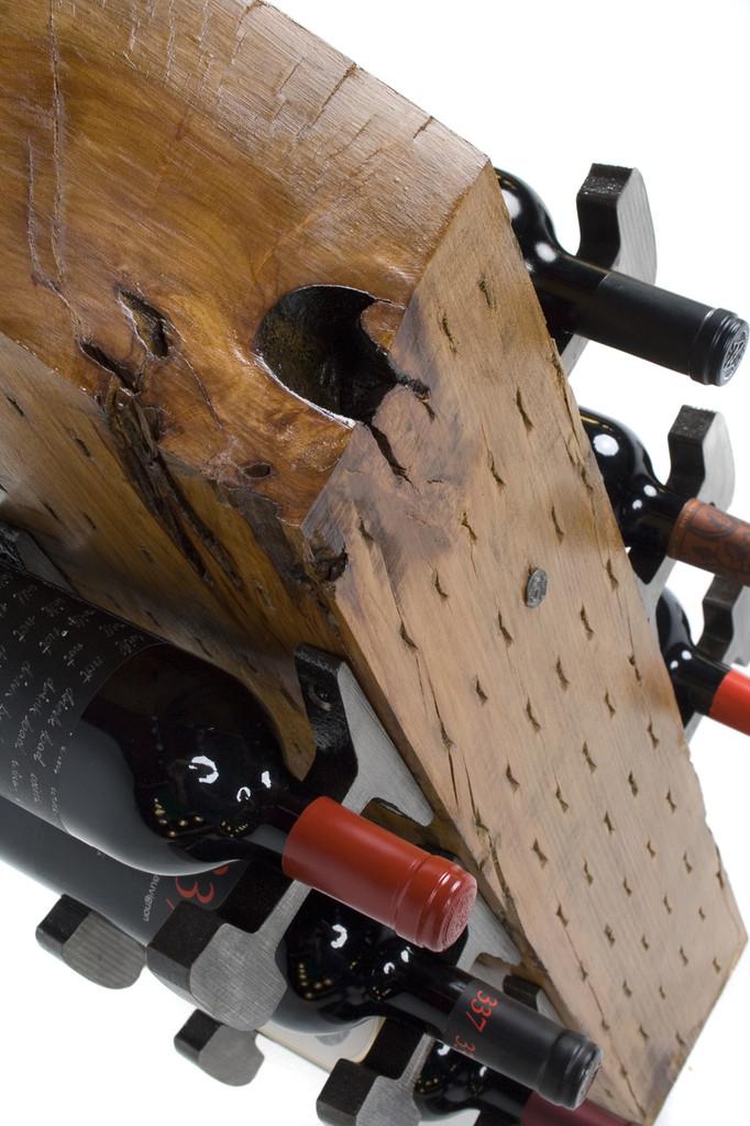 repurposed distressed hardwood rack for wine and spirits