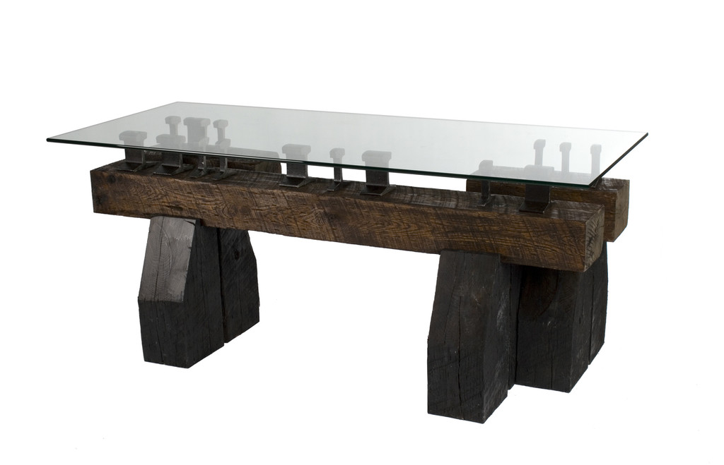 Executive style modern desk from reclaimed and sustainably sourced timbers and salvaged steel railroad rail.