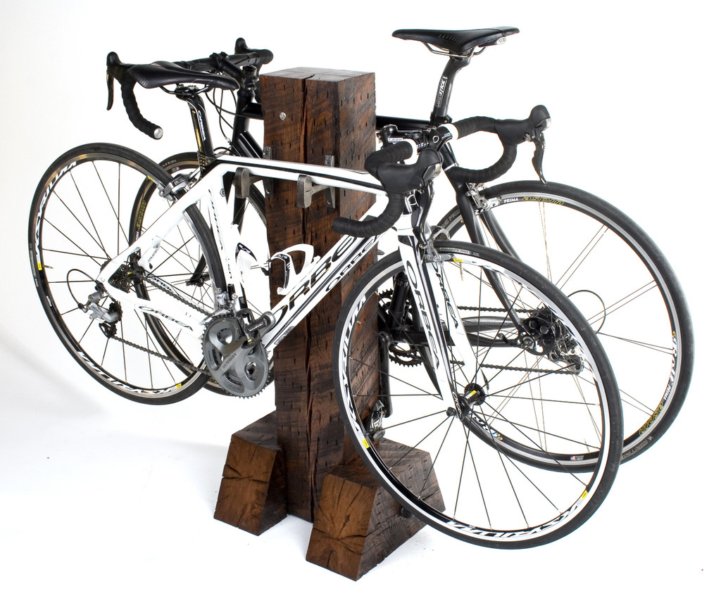 Custom made bike rack with reclaimed wood timbers and salvaged steel from Rail Yard Studios