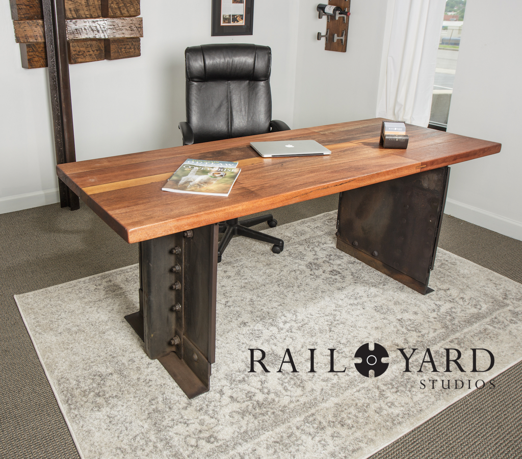 executive style mahogany and steel desk from salvaged railroad car
