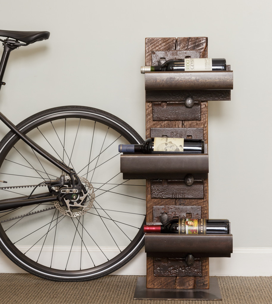 Bike wheel and railroad wine rack