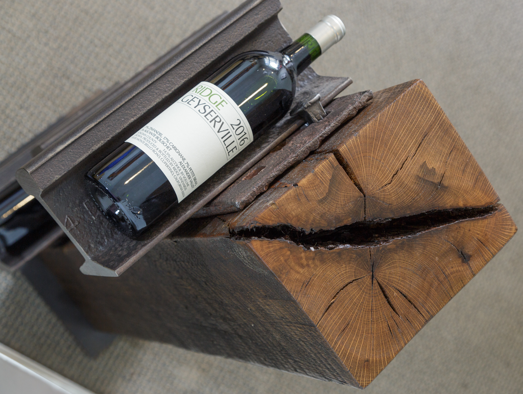 Wood beam industrial wine rack