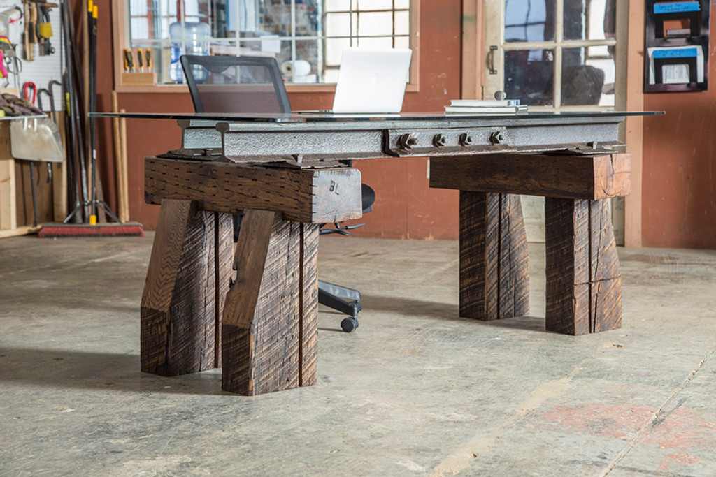 luxury executive desk from wood timber and reclaimed steel architectural artifacts