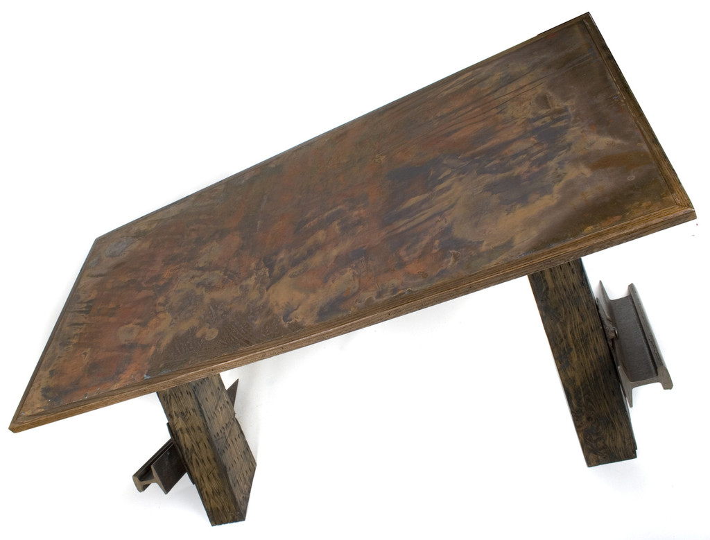 copper metal desk top with reclaimed industrial age steel and hardwood timbers