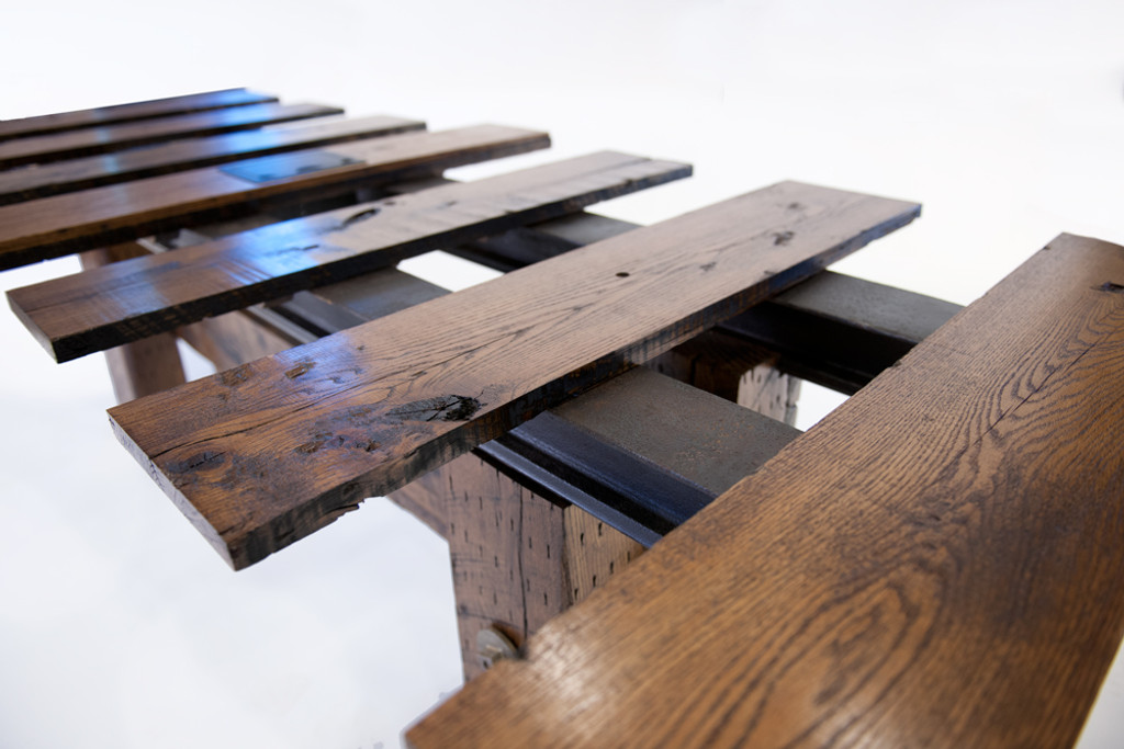 grand conference table from sustainably sourced north american hardwoods and reclaimed steel