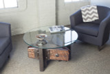 triangle coffee table reclaimed steel iron wood round glass top