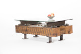 i-beam wood stone coffee table industrial interior design style