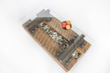 classic industrial coffee table from railroad cross ties and salvaged rail i-beams with granite stone rocks