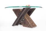distressed wood base table with heavy industrial steel legs for urban loft or renovated warehouse office