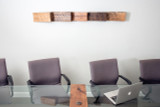 board room wall sculpture wood relief industrial design style with organic flow