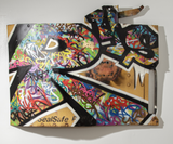 fr8 graff panel on salvaged steel railcar door canvas with graffiti tags