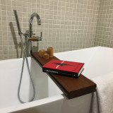 Bath caddy made from sections of vintage reclaimed flooring from decommissioned railcars