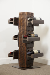 Revolving heavy wood timber wine rack from railroad materials