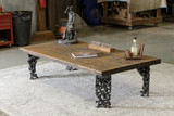 Railroad-themed industrial style rectangular coffee table