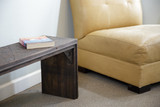Gusseted corner of waterfall bench from boxcar flooring