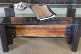 cherry timber industrial style coffee table