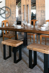 dining table with stools industrial style