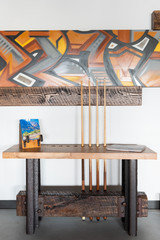 Historic steel and repurposed timber made in the USA pool cue side table